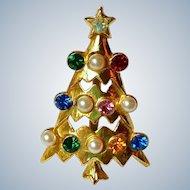 Atomic Rhinestone Christmas Tree Brooch / Pin Collectors Piece