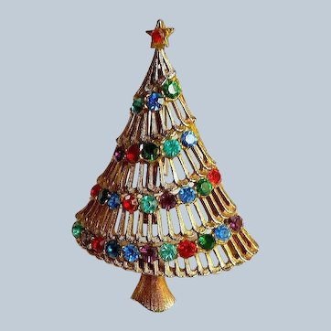 JJ Multicolor Rhinestone Christmas Tree Pin / Brooch BookPiece