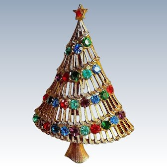 JJ Rhinestone Christmas Tree Pin / Brooch Collectors Book Piece