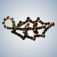 Christmas Rhinestone Holly Pin / Brooch