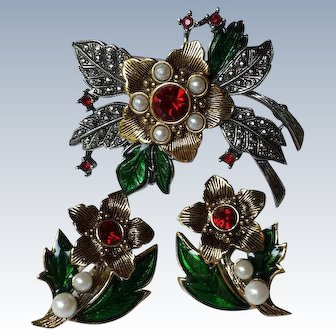 Christmas Poinsettia Brooch & Earrings Set, Signed Avon, Collectors Book Piece