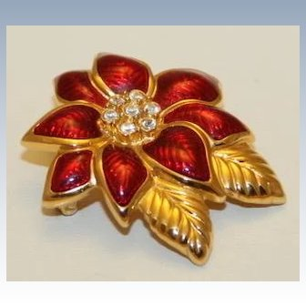 Vintage Signed Monet Christmas Poinsettia brooch, 18k Gold plate, Guilloche Enamel, Austrian Rhinestones~ BEAUTIFUL !