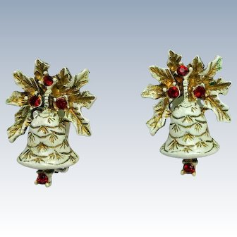 Signed Dodds Christmas Bells Brooch and Earring Set Collectors Book Piece