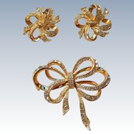 Kenneth Jay Lane Earring Brooch Set, KJL Swarovski AVON Collection BOOK PIECE