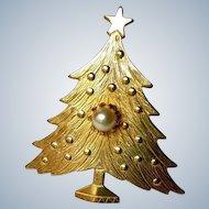 Goldplated Embossed Christmas Tree Brooch, Mid Century