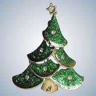 Green Christmas Tree Pin/Brooch, Mid Century
