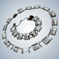 Art Deco Rock Quartz Crystal Set, Rock Quartz Crystal Choker Bracelet Set, Sterling Bezel Setting EXTRAORDINARY !