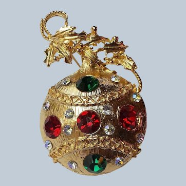 Vintage Christmas Ornament Pin/Brooch Multi Color Austrian Rhinestones, 22k Gold Plated Ribbon and Holly Berries ~ GORGEOUS !  *