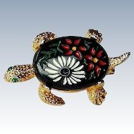 Vintage Japanese Turtle Pin Hand Painted Glass Cabochon 22k Gold Overlay