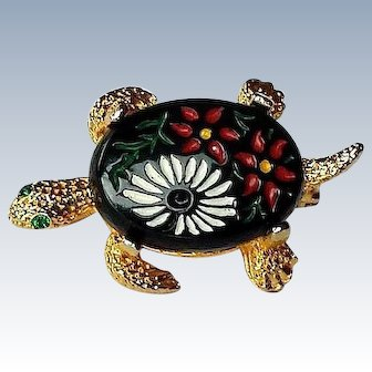 Turtle Pin, Hand Painted Japan Glass Cabochon Turtle Pin