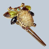 Mid Century Bumble Bee Rhinestone Jewelry Clip, Signed Continental