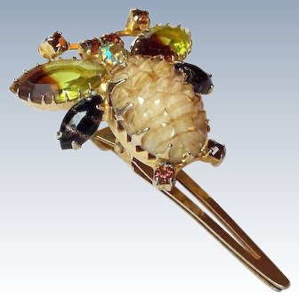 Signed Continental Bumble Bee Rhinestone Hair Clip