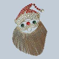 Vintage Rhinestone Santa Face Brooch Pin