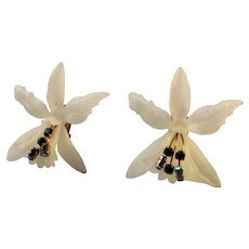 Mid Century White Lucite Orchid Clip Earrings with prong set Austrian Blue Baguette Rhinestones, Huge 3.5 inches.