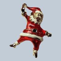 Dancing Santa Enamel Pin Brooch Vintage Christmas Jewelry