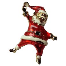 Vintage Dancing Santa Pin Brooch