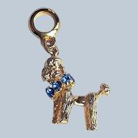 Gold Poodle Dog Charm Birthstones Swarovski Crystal Rhinestone Collar Euro Charm, UNused Vintage~Made in USA