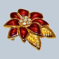 Vintage Christmas Brooches Pins, Signed Monet Poinsettia Brooch