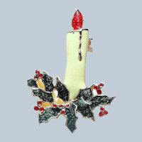 Christmas Holly Candle Enamel Brooch Pin