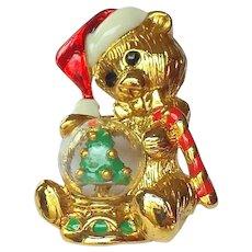 Signed Vintage Christmas Teddy Bear Pin