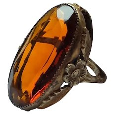 Late 20th Century Sterling Amber Glass Ring