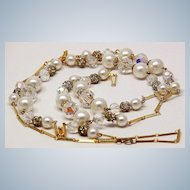Vintage Endless Filigree, Crystal Bead Faux Pearl Chain Necklace