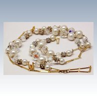 Vintage Pearl  Filigree Necklace, Endless 49 inch Chain, AB Crystals, Faux Pearls, Vintage BEAUTY !