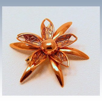 Vintage Flower Copper Pin~ Perfect
