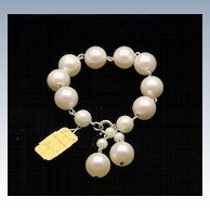 Vintage Laguna White Faux Pearl 14mm Bracelet, Signed UN-used New Vintage