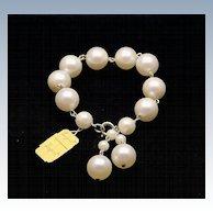 Vintage Laguna White Faux Pearl 14mm Bracelet, Signed UN-used New Vintage