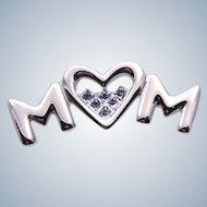 Blue Rhinestone Mom Heart Pin Valentine
