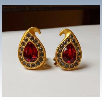Vintage Napier Red Rhinestone Clip Earrings 22k Matte Gold~Plate, Signed