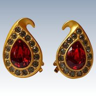 Vintage Napier Red Rhinestone Clip Earrings 22k Matte Gold~Plate, Signed