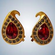 Napier Red Rhinestone Clip Earrings