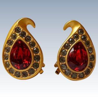 Napier Red Rhinestone Clip Earrings 22k Matte Gold Plate, Signed