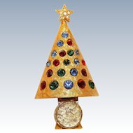 Signed Hattie Carniegie Vintage Christmas Light Up Tree Pin/Brooch Collectors BOOK PIECE