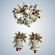 Dodds Christmas Bell Brooch Earrings Set Book Piece