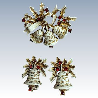 Dodds White Christmas Bell Pin / Brooch Earrings Set, Signed Collectors Book Piece