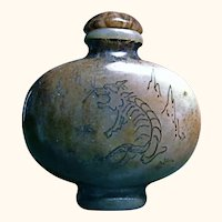 19C Qing Jade Tiger Snuff Bottle