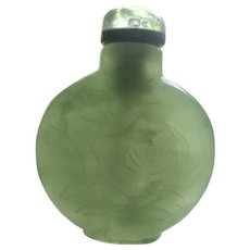 Antique Chinese Carved Celadon Jade Snuff Bottle