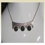 Art Deco Style Sterling Silver and Tiger's Eye Necklace