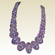 Vintage Multi-faceted 1,907 Carat Weight Amethyst Necklace.