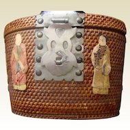 1800s Chinese Wicker Tea Pot Storage Basket.