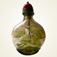 Snuff Bottle: Carved Glass, 19/20C