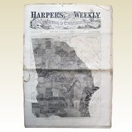 Harper's Weekly 1861; Map of Slaves in Georgia