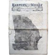 Harper's Weekly 1861; Map of Slaves in Georgia