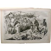 """Winslow Homer 1862; Harper's Weekly """"Thanksgiving in Camp""""."""