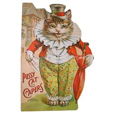 Scarce Louis Wain die-cut, cat shaped, 'Pussy Cat Capers'. pub. McLoughlin Bros.