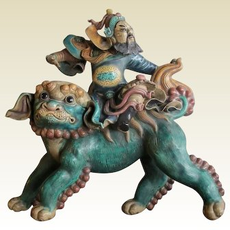 19C Chinese Wucai Glazed Roof Tile