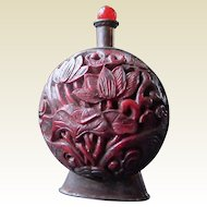 Lacquer ware/copper snuff bottle 1900-1940